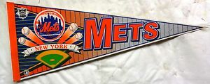 Vintage-1980s-or-Early-1990s-New-York-Mets-30-034-Pennant-Ex-Cond-Pin-Holes