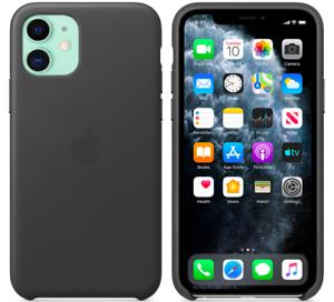 Schwarz-iPhone-11-6-1-Apple-Echt-Original-Leder-Huelle-Leather-Case