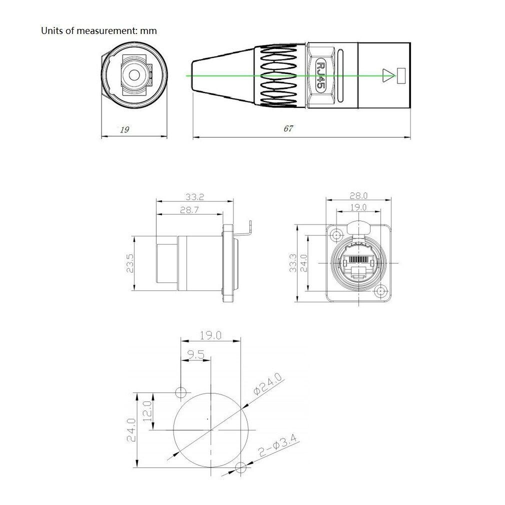 ip65 rj45 waterproof connector sockets rj45 female