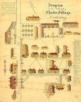 Diagram Of Shaker Village Canterbury Nh C1849 Repro 24x30