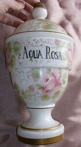 Pot-a-pharmacie-verre-overlay-transparent-opaline-blanc-peint-roses-AQUA-ROSA