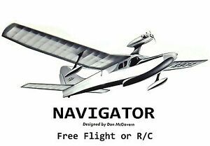 "Model Airplane Plans (FF or RC): NAVIGATOR 52"" Amphibious Flying Boat .049-.10ci"