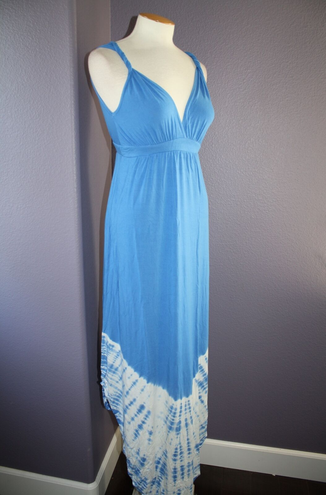 NWT Gypsy 05 La Ba Dee bluee Tie Dye Deep V Bamboo Twist Strap Maxi Dress S