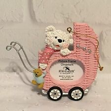 Baby Buggy Christmas Picture Frame Ornament w/Stand Kurt S Adler Pink