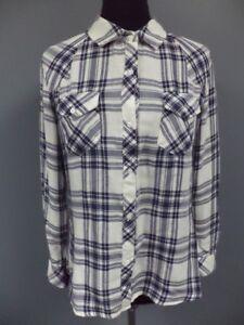 5490c918300a3f RAILS Blue White Plaid Rayon Blend Button Down Long Sleeve Shirt ...