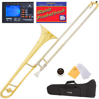 Mendini Bb Tenor Slide Trombone, Gold with Cupronickel Slide +Tuner+Pocketbook