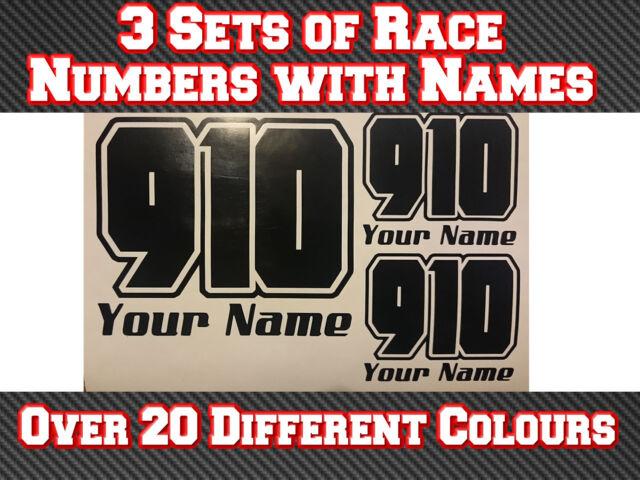 "3 Sets 7/"" Race Numbers /& Name Vinyl Stickers MX Motocross Track Bike T18"