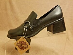 8f232ddcff2b Harley Davidson Women s Black Leather Heel Loafers Slip Ons Buckle ...