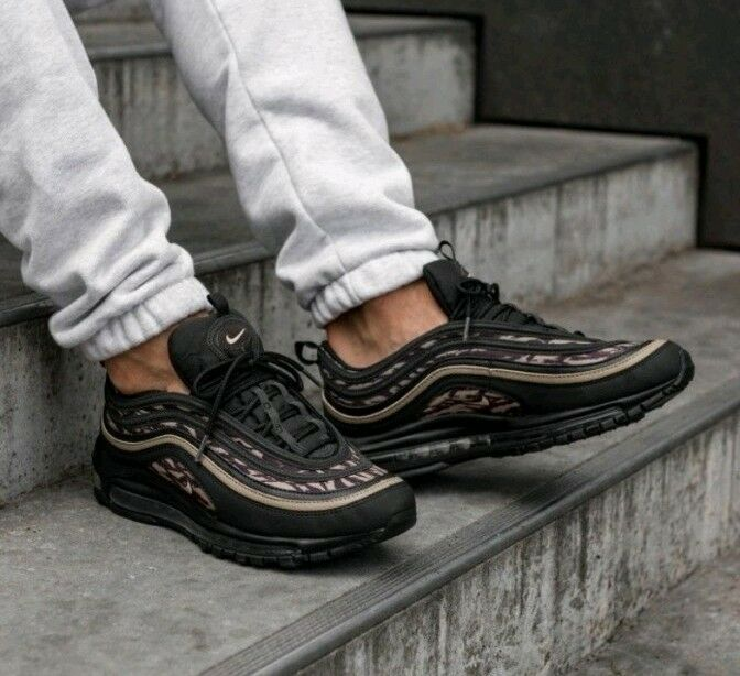 Nike Air Max 97 AOP Camo Size 10 UK Black AQ4132001 Running Mens Genuine Auth