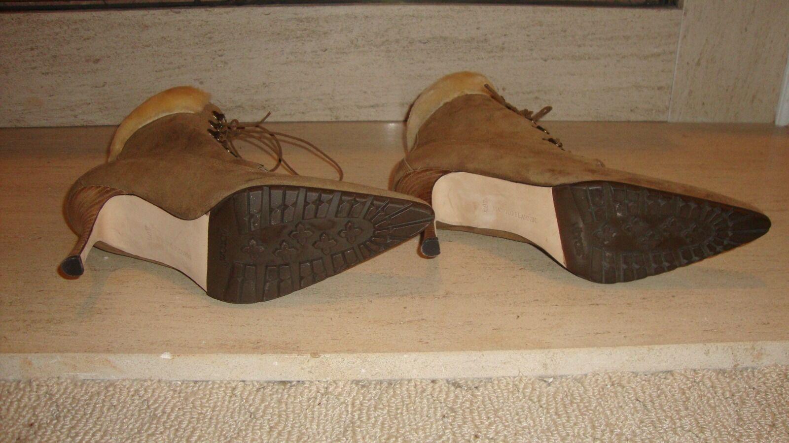 Impresionante nuevo vendido Manolo BLAHNIK Shearling de gamuza Shearling BLAHNIK botas al tobillo 0ed4c1