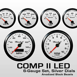 C2-6-Gauge-Set-Silver-Dials-Black-Bezels-0-90-Ohm-Fuel-Level-2464BLK