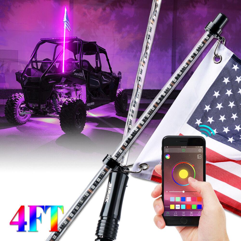 Xprite 4ft LED Whip Lights RGB Flag Pole Bluetooth