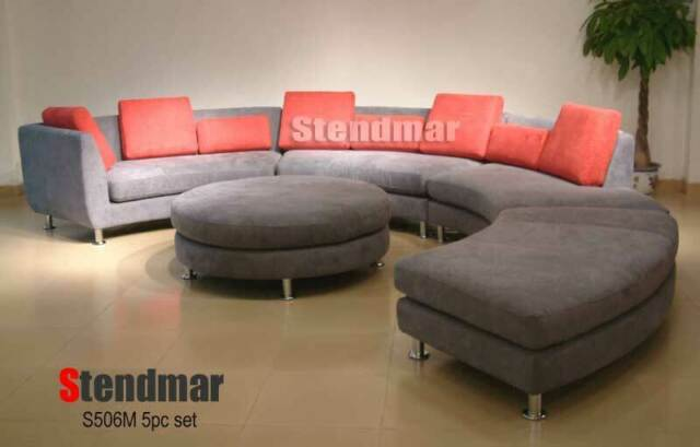 5pc Modern Round Sectionals Leather, Round Sectional Leather Sofa