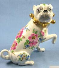 Mops mit Schellen  hund figur gemarkt pug hundefigur mopsfigur rosendeko,li