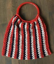 Vtg 70's RED White BLUE Patriotic Weave CROCHETED Plastic LUCITE Hand Bag Purse
