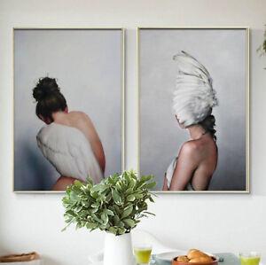 Set Of 2 Fantasy Angel Wings Nude Woman Portrait Cavans Prints