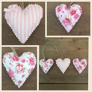 Remarkable Details About Set Of 3 Handmade Shabby Chic Hanging Love Heart Padded Hearts Home Interior And Landscaping Ponolsignezvosmurscom