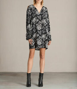 Details about BNWT ALLSAINTS ASTER KASURI WASHED BLACK FLORAL PRINT SHIFT DRESS SIZE S