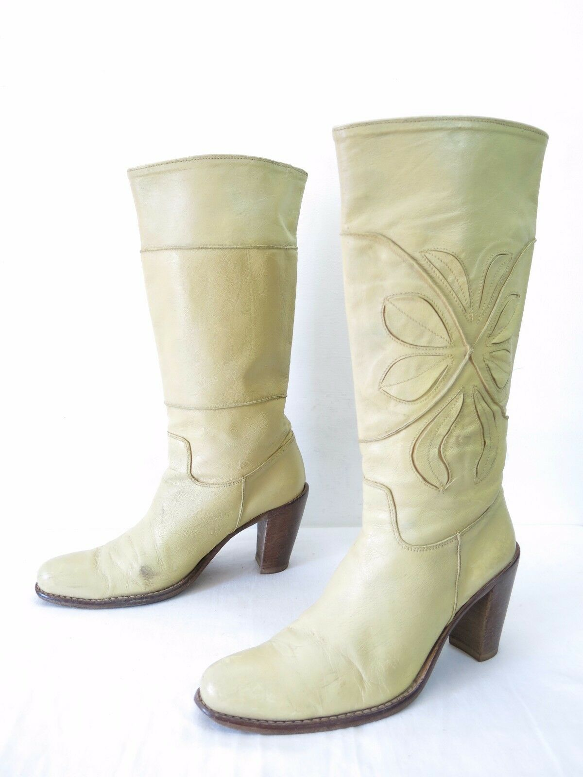 MOMA Boots Womens 37.5 7.5 Ivory Cream Leather Campus High Heel Applique Slip On
