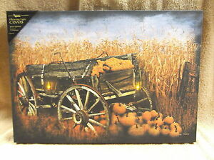 Lighted Wall Decor harvest fall wagon lighted canvas wall decor sign pumpkins field