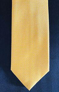 New-Brioni-Yellow-w-Micro-White-Weave-Mens-Silk-Necktie-Tie-3-5-X-59