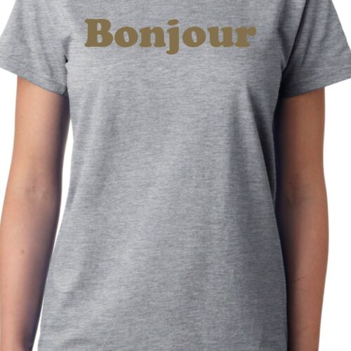 Gold Print Cool Funny French Slogan Francais Hello Bonjour T-Shirt