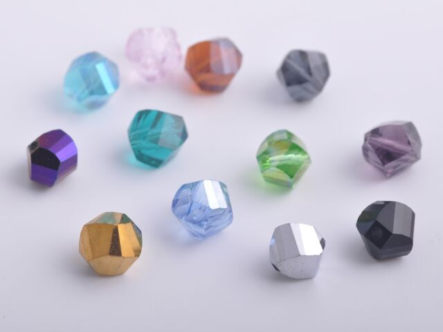 50pcs 8mm Twist Helix Glass Crystal Findings Loose Spacer Beads Mixed Colours