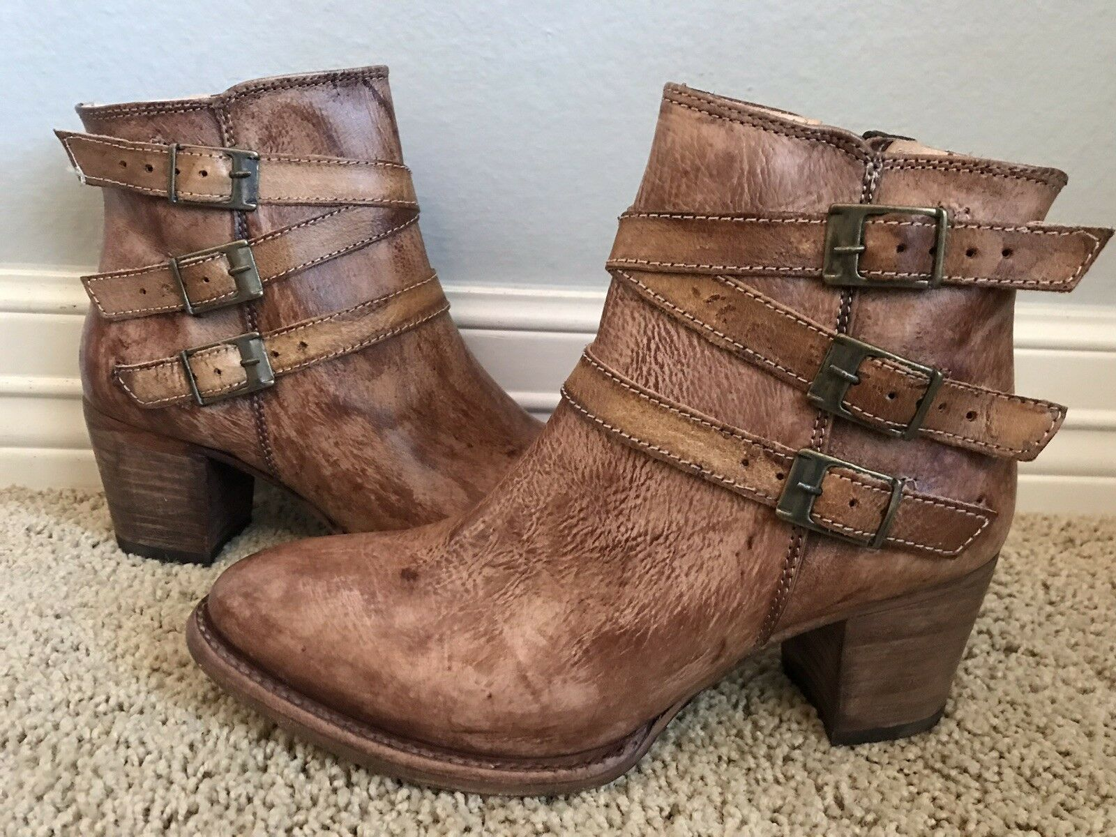New BED STU STU STU Women's Begin Tan Teak Driftwood Leather Boots Sz 7  255 697350
