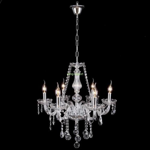 Elégant Lustre en cristal plafonnier 6 feux lampe luminaire pampilles Chandelier