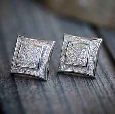 Mens White Gold Lab Made Diamond Square Shaped Stud Earrings