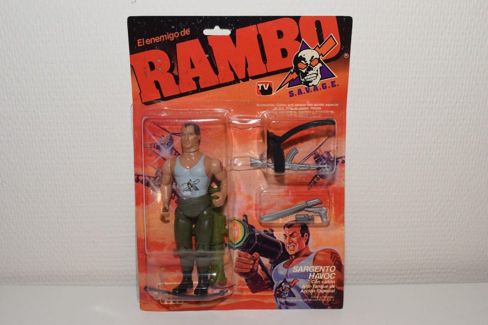 Jocsa Rambo s.a.v.a.g.e. Sargent Havoc figure doll Comme neuf on card RARE RARO