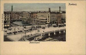 Hamburg-1900-Tram-Strassenbahn-Pferde-Fuhrwerke-passieren-Bruecke-Alsterarkaden