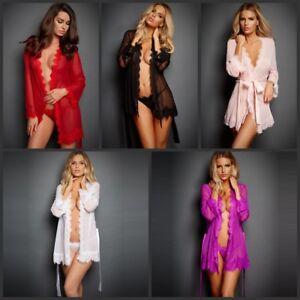 Plus-Size-Women-Chemise-Lingerie-Set-Lace-Nightwear-G-string-Sleep-Dress-Pajamas