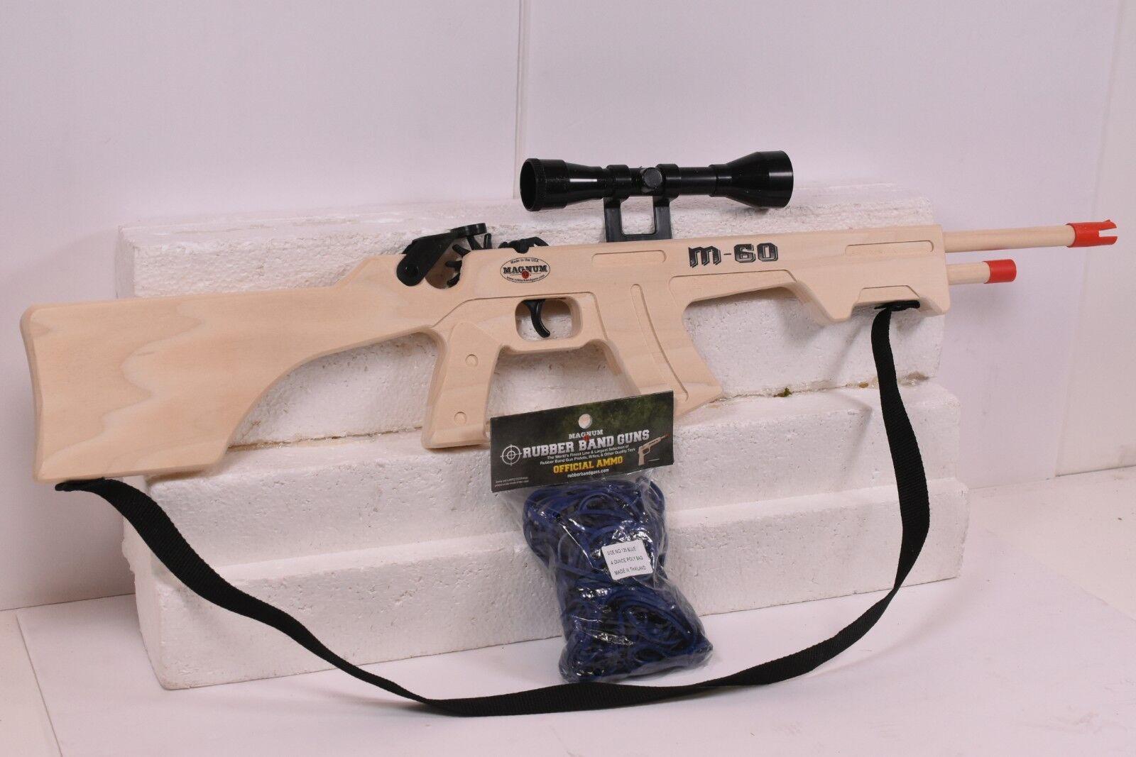 MAGNUM RUBBER RUBBER RUBBER BAND GUNS M-60 W  SCOPE & SLING  GL2M60SS  PLUS AMMO 4811e7