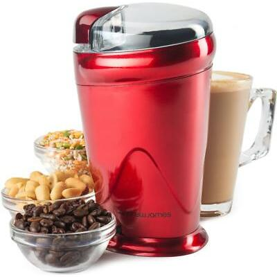 Andrew James Red Electric Coffee Bean Nut Spice Grinder Mill 150 Watt
