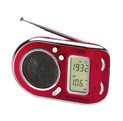 AEG WE4125 RED RADIO PORTATILE BATTERIA MULTIBANDA DISPLAY LCD ROSSO EASYCASA