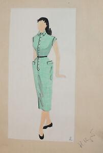 Female-Theatre-Costume-Design-Vintage-Gouache-Painting-Signed