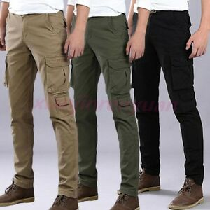 1b7ac5ff07cf Fashion Skinny Men s Slim Cargo Pants Overalls Military Packet ...