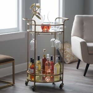 Modern-Glam-Gold-Metal-Glass-Round-Serving-Cart-Buffet-Mobile-Bar-Cart-Home-Bar