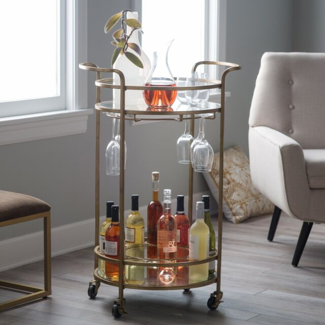 Modern Glam Gold Metal Glass Round Serving Cart Buffet Mobile Bar Cart Home Bar