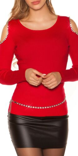 Damen Pullover Coldshoulder Strickpullover Strick Pulli mit Strasssteinen