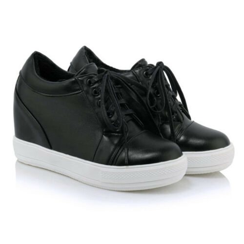 Women/'s Athletic Fashion Lace Up Hidden Wedge Heel Lace up Shoes 35-45 Sz