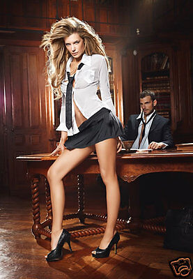 BACI Sexy Secretary CEO Top, Pinstripe Mini Skirt & Tie Lingerie Costume Set OS