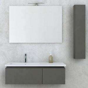 Mobile bagno sospeso moderno grigio talpa opaco 100 cm con specchio ...