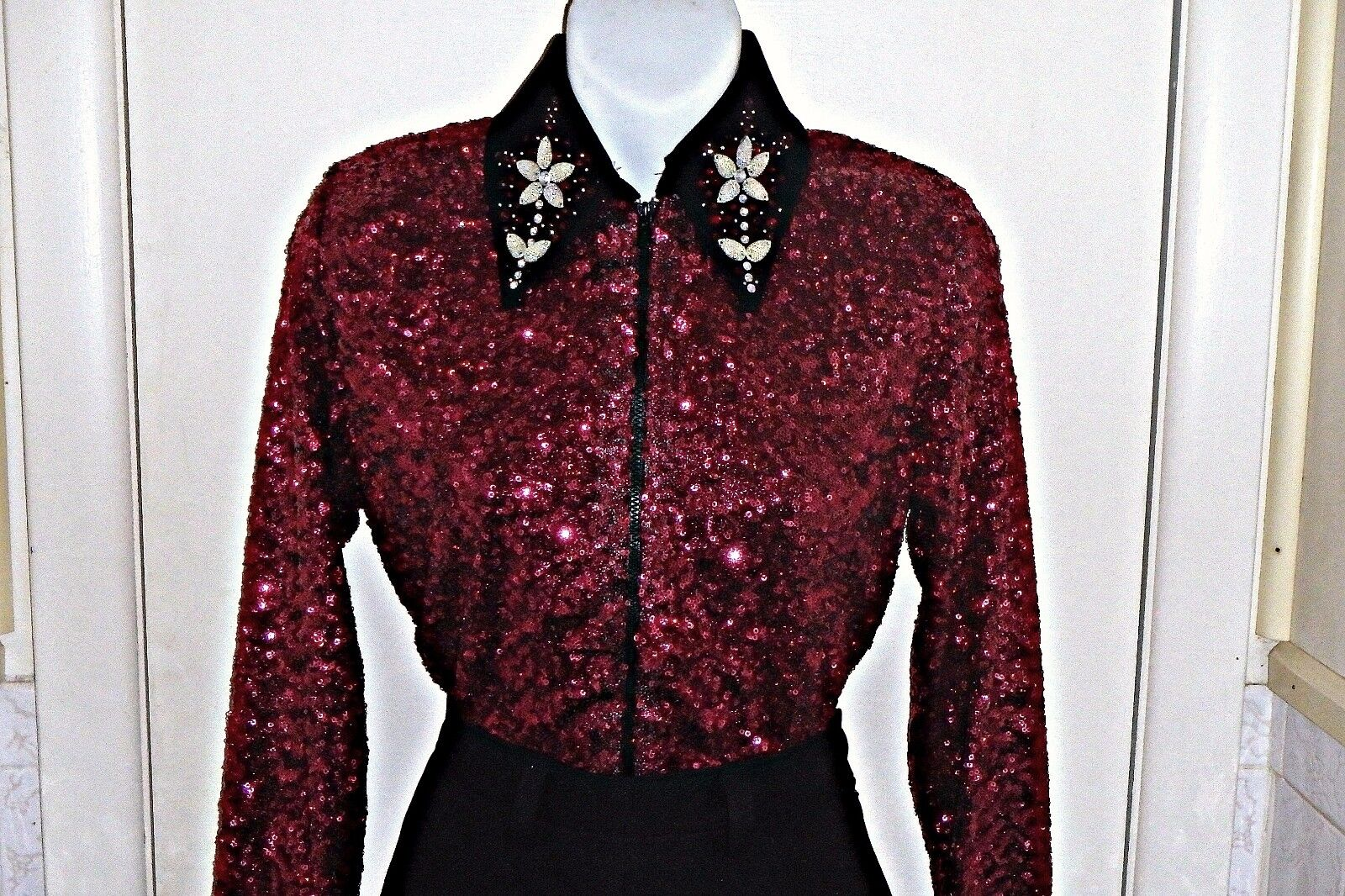 Plus Size Burgundy Sequin Western Rail, Pleasure, Rodeo,Trail,Glamour Shirt