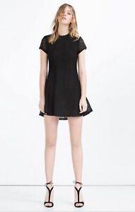 27b37100 ZARA Size L Or 12-14 Black Lace Skater Dress | eBay