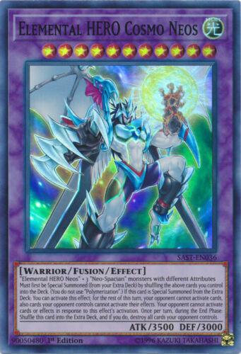 Yugioh Elemental HERO Cosmo Neos Super Rare 1st Edition SAST-EN036