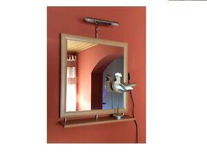 spiegel wandspiegel mit ablage und beleuchtung erle 60 x 64 cm badspiegel flur ebay. Black Bedroom Furniture Sets. Home Design Ideas