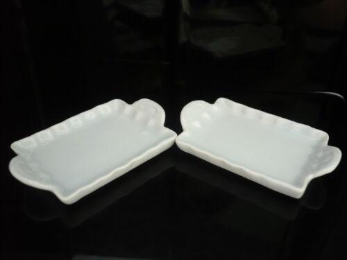 Set of 2 White Ceramic Tray Dollhouse Miniatures Supply Deco