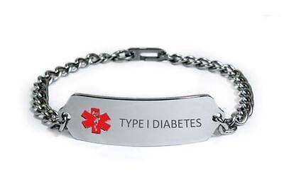 2253b972383d9 TYPE 1 DIABETES Medical Alert ID Bracelet. Free medical Emergency Card!  IDB76 | eBay